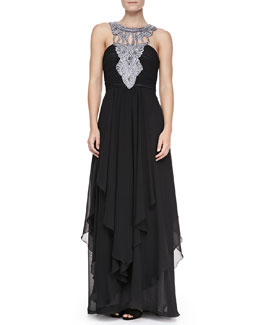 Sue Wong Tiered Chiffon Jewelry-Neck Gown