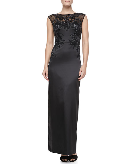 Embroidered Satin Sleeveless Gown
