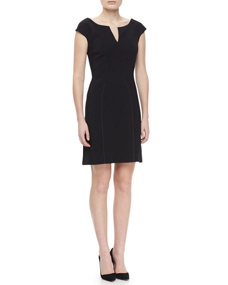 Reptile Knit Cap-Sleeve Dress, Black