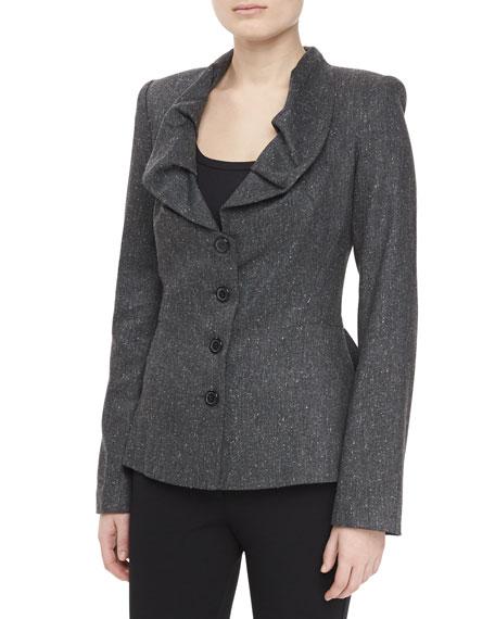 Ruffle Neck Tweed Jacket, Heather