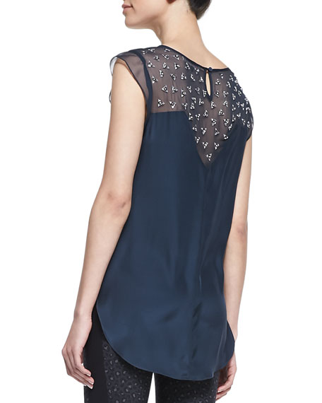 Rhinestone Silk Top
