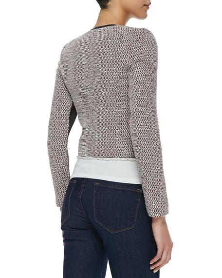 Cutaway Leather-Trim Tweed Jacket
