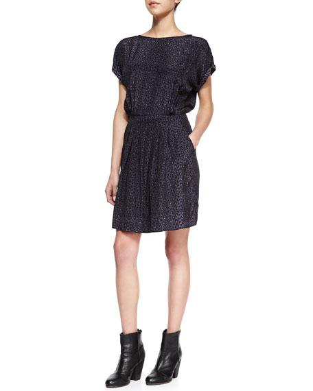Wildcat-Print Silk Dress
