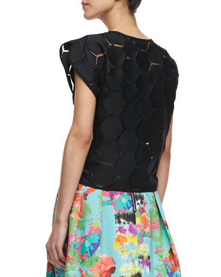 Hexagon-Cutout Short-Sleeve Top