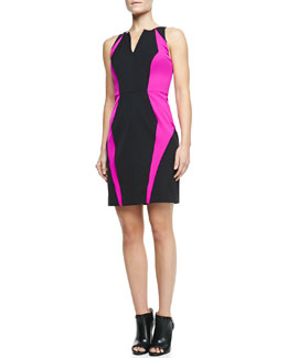 Milly Angular Seamed Two-Tone Jersey Sheath Dress