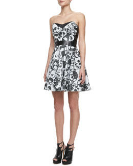 Milly Laughing Skull Strapless Leather-Inset Dress
