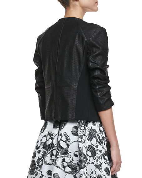 Python-Embossed Leather Jacket