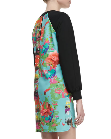 Knit-Sleeve Printed Dress