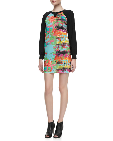 Knit-Sleeve Printed Dress