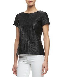 Milly Python Embossed Short-Sleeve Leather Tee