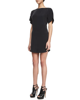 Milly Boat-Neck Silk Shift Dress, Black