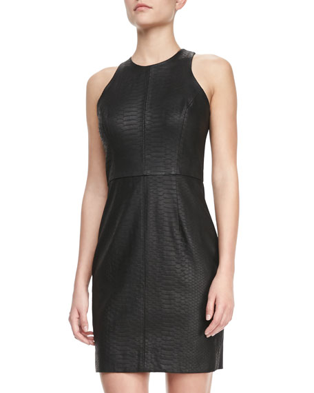 Snake-Embossed Racerback Dress