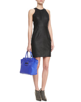 Milly Snake-Embossed Racerback Dress