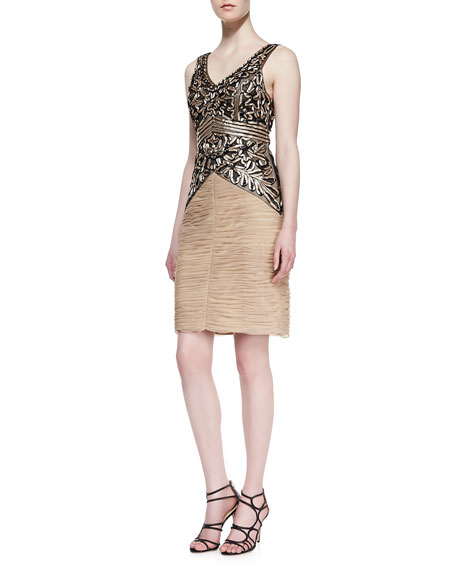 Sue Wong Embroidered Ruched Skirt Cocktail Dress