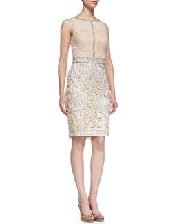 Sue Wong Sleeveless Ruched & Embroidered Cocktail Dress