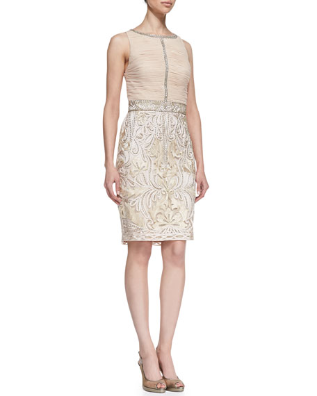 Sleeveless Ruched & Embroidered Cocktail Dress