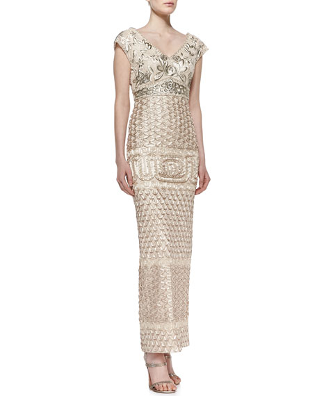 V-Neck Embroidered Gown, Champagne Combo