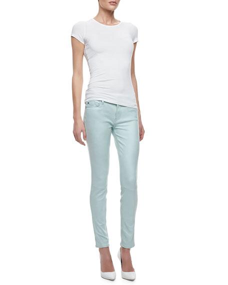 Leathery Denim Skinny Jeans, Mint
