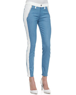 7 For All Mankind The Skinny Two-Tone Jeather/Denim Jeans