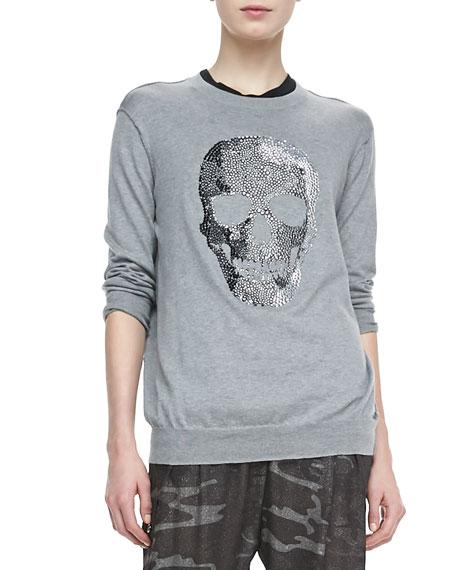 Studded-Skull Knit Sweatshirt