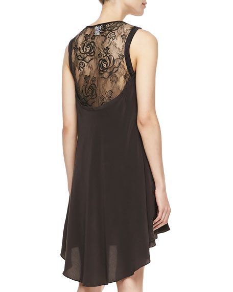Tuck Lace-Back High-Low Dress