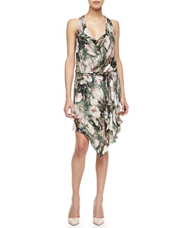 Haute Hippie Floral-Print Silk Dress