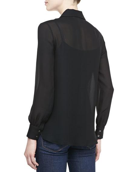 Ruffle-Front Silk Blouse, Black