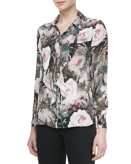 Haute Hippie Dream Floral-Print Silk Blouse