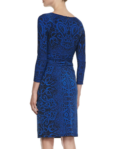 Long-Sleeve Lace-Print Jersey Dress