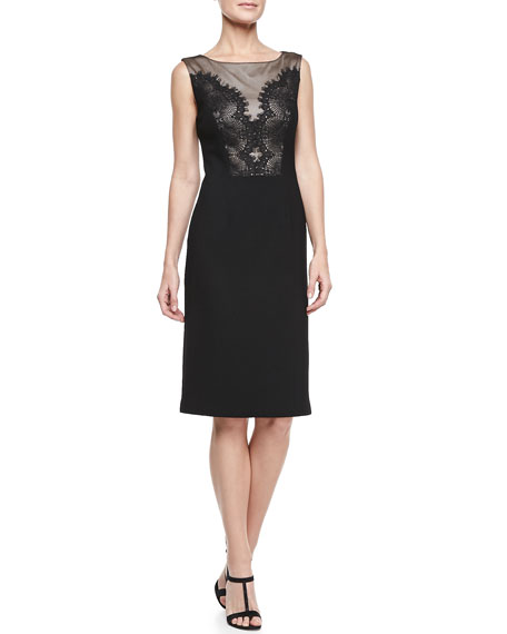 Sleeveless Lace Bodice Cocktail Dress