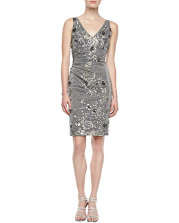 David Meister Sleeveless Floral Embroidered Cocktail Dress, Gray