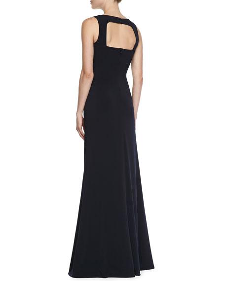 Sleeveless Jewelry Neck Gown, Navy