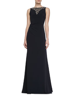 David Meister Sleeveless Jewelry Neck Gown, Navy