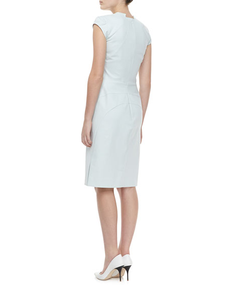 Cap Sleeve V Neck Day Dress, Ice Gray