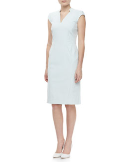 Zac Posen Cap Sleeve V Neck Day Dress, Ice Gray