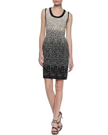 Ombre Beaded Scoop-Neck Dress