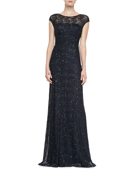 Cap-Sleeve Beaded-Overlay Gown, Navy
