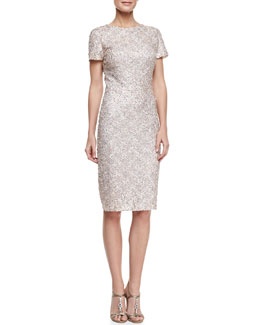 David Meister Signature Short-Sleeve Sequined Cocktail Dress