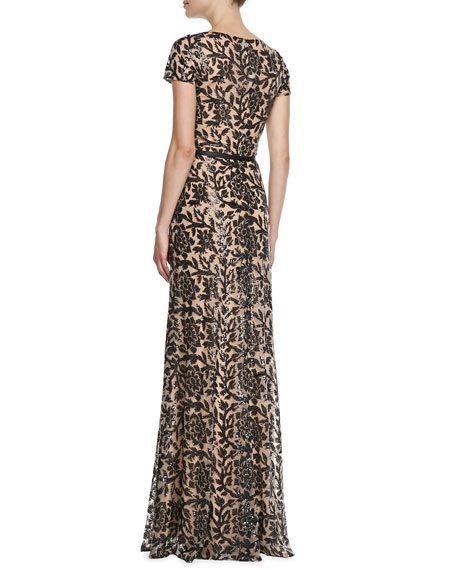 Short-Sleeve Lace Overlay Belted Gown