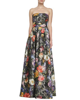 David Meister Signature Strapless Floral-Print Ball Gown