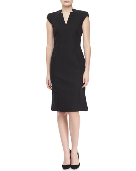 Cap Sleeve V-Neck Day Dress, Black