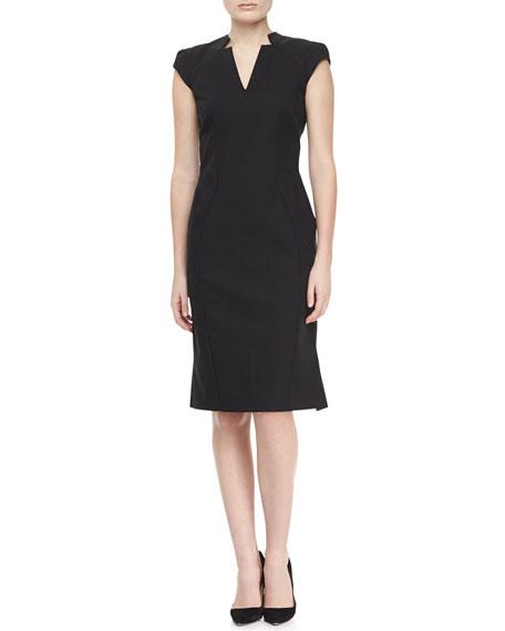 Cap Sleeve V-Neck Day Dress, Black