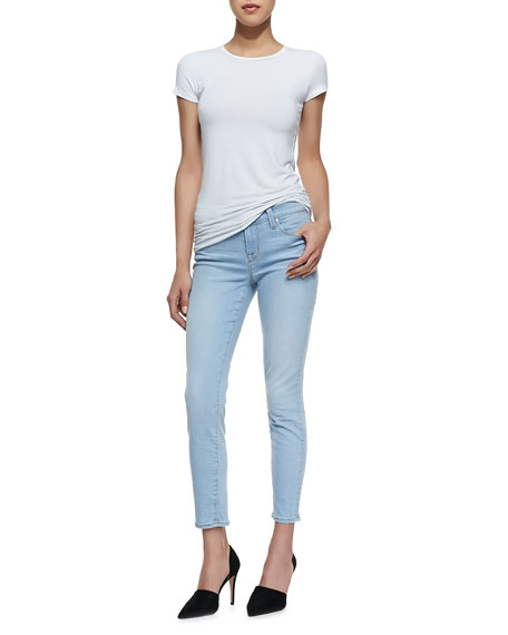 835 Mid-Rise Cropped Skinny Jeans, Light Blue