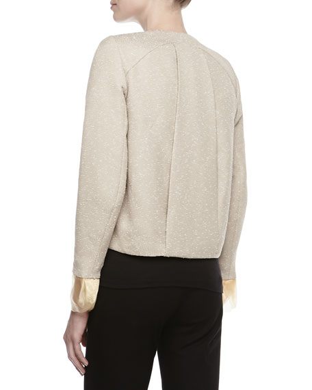 Tweed Placket Boxy Jacket, Beige