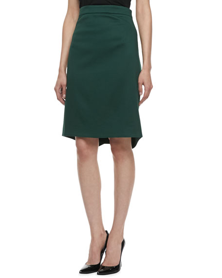 Textured Pencil Skirt, Dark Green