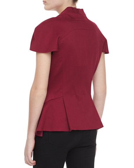Crepe Cap-Sleeve Jacket, Burgundy