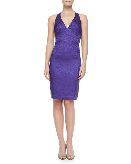 Jacquard Halter V-Neck Cocktail Dress, Violet