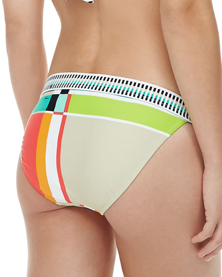 Mixed-Print Hipster Swim Bottom