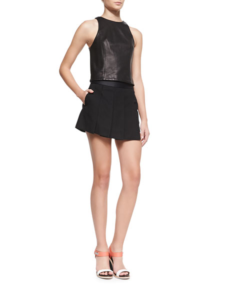 Asymmetric Knife-Pleat Skort