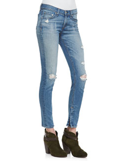 rag & bone/JEAN Shredded Zipper Distressed Capris